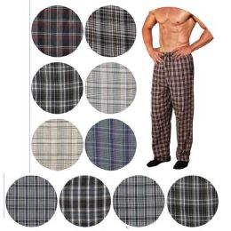 36 of Men's Cotton Pajama Bottoms In Assorted Plaid Patterns And Assorted Sizes