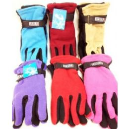 72 of Lady's Fleece Gloves Assorted Colors