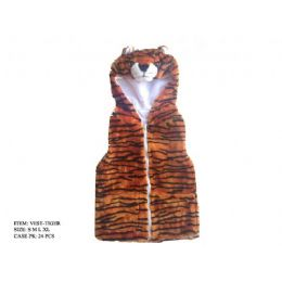 24 of Kids Vest With Animal Hoodie Tiger