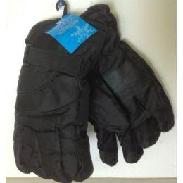 72 of Mens Black Ski Glove Adjustable Velcro Wrist Band