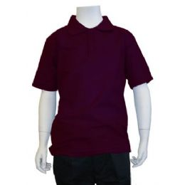 12 of Boys School Uniform Polo Shirt Burgundy Color