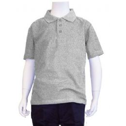 12 of Boys School Uniform Polo Shirt Heather Grey