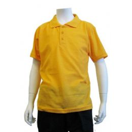 12 of Boys School Uniform Polo Shirt Yellow Gold Color