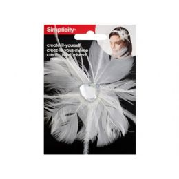 144 of Simplicty White Feather W/jewel Headband Accend