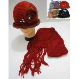 72 of Hand Knitted Fashion Hat & Scarf SeT--Heart & Feather
