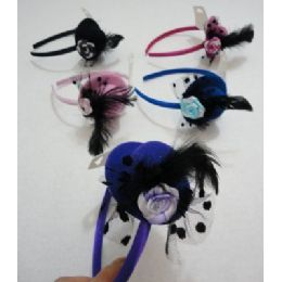 144 of Fancy Hat Headband With Feathers & Rose