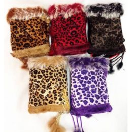 24 of Fingerless Faux Fur Suede Leopard Texting Gloves