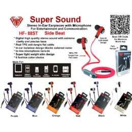 24 of AntI-Tangle Flat Wire Stereo Earphone With Microphone