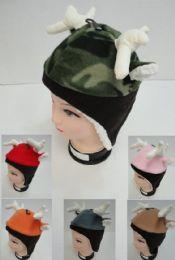 24 of Kid's Fleece Hat W Antlers & Ears [fleece Lining & Ear Flaps]