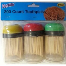 48 of 3 Pack Toothpicks With Plastic Holders