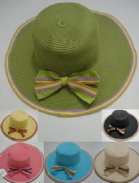 24 of Ladies WidE-Brimmed Hat [multicolor Edging & Bow]