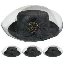 24 of Ladies Solid Color Summer Hat With Bow And Mesh