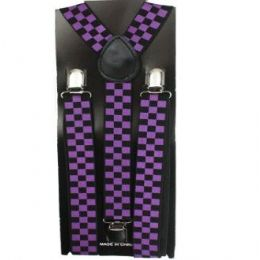 48 of Checkered Suspender In Purple And Black