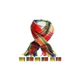 36 of Unisex Fashion Scarves In Colorful Plaid
