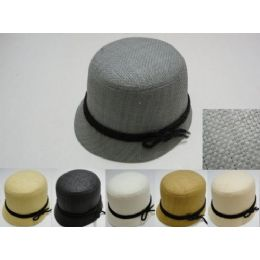 48 of Ladies Woven Bucket Hat With Black Hat Band