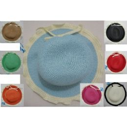24 of Ladies Woven Hat [scalloped Edge With Thin Bow]