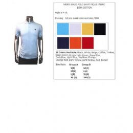 48 of Men's Solid Polo Shirt Pique Fabric 100% Cotton In Size Chart In A