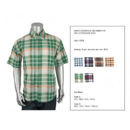 36 of Mens Fashion Plaid Button Down Shirt Y/d 60% Cotton 40% Poly Size Scale A Only