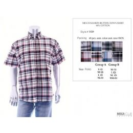 48 of Mens Fashion Button Down Shirts 60% Cotton Size Scale B Only