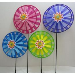 """120 of 13"""" Round Double Wind Spinner W Flower"""