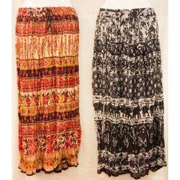 12 of Maxi Skirt Ethnic Print Adjustable Waist Tie Assorted