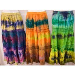 12 of Maxi Skirt Tie Dye Color Adjustable Waist Tie Assorted