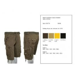 24 of Mens Fashion Cargo Shorts 100% Assorted Colors