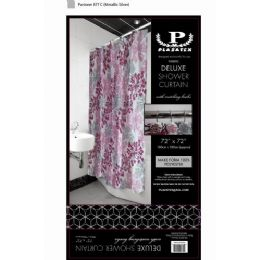 12 of Pink Silver Burst Deluxe Shower Curtain