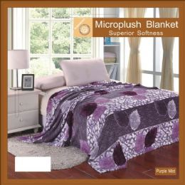 12 of Assorted Flower Print Blankets Full Size Purple Mist