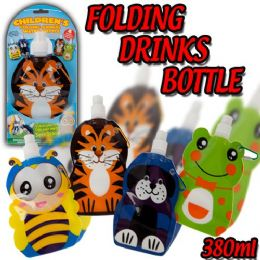144 of Assorted Prints Foldable Water Bottle For Kids