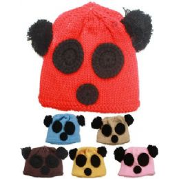 72 of Kids Winter Bear Face Hat - Assorted Colors