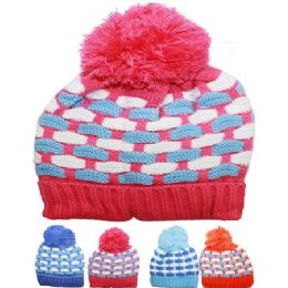 72 of Kid Winter Hat Assorted Color With Pom Pom