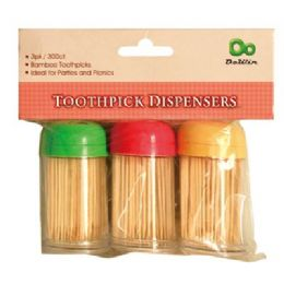 48 of 3 Pack Bamboo Toothpick Dispensers With/300 Picks