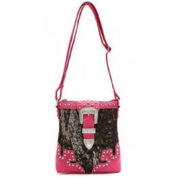 12 of Rhinestone Buckle Camo Messenger Bag Purse Fuchsia