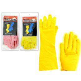 144 of Glove Rubber Mediumpink+yellow