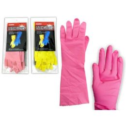 144 of Glove Rubber Small Pink+yellow