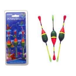"""144 of Fishing Spinners 3pc 3.6"""" Green+orange Clr"""