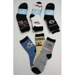 180 of Boy's Printed Crew Socks 6-8