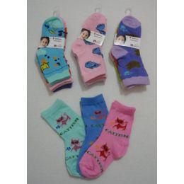 180 of Girl's Printed Crew Socks 2-4