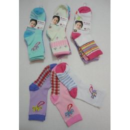 180 of Girl's Printed Crew Socks 6-8