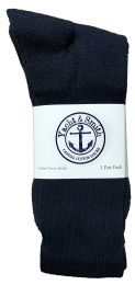 120 of Yacht & Smith Men's Cotton Terry Cushioned Crew Socks Navy Size 10-13 Bulk Packs