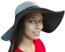 Yacht & Smith Floppy Stylish Sun Hats Bow And Leather Design, Style C - Black