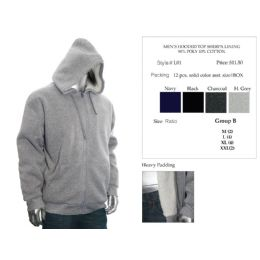12 of Mens Hooded Top Sherpa Lining 90% Poly 10% Cotton