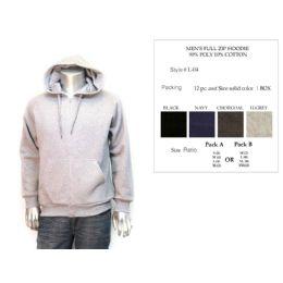 12 of Mens Full Zip Hoodie Assorted Colors