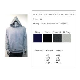 12 of Mens Pullover Hoodie 90% Poly 10% Cotton Assorted Colors