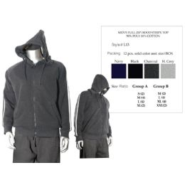 12 of Mens Full Zip Hood Stripe Top 90% Poly 10% Cotton