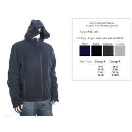 12 of Mens Fashion Polar Fleece With Sherpa Lining Assorted Colors
