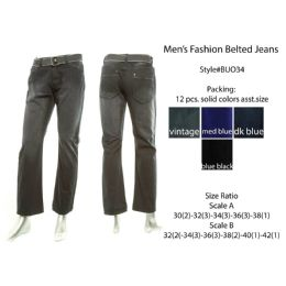12 of Mens Fashion Belted Jeans