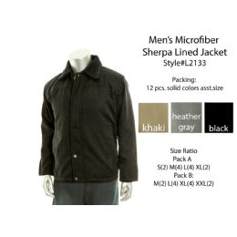 12 of Mens Microfiber Sherpa Lined Winter Jacket