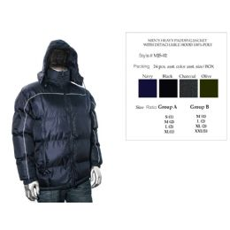 24 of Mens Heavy Padding Jacket With Detachable Hood 100% Poly